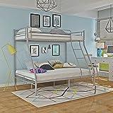 Keinode Etagenbett aus Metall, 90 cm, Einzelbett, 140 cm, Doppelbett für 3 Personen, modernes Schlafzimmer für Jugendliche, Kinder, Jugendliche, Erwachsene Silbergrau