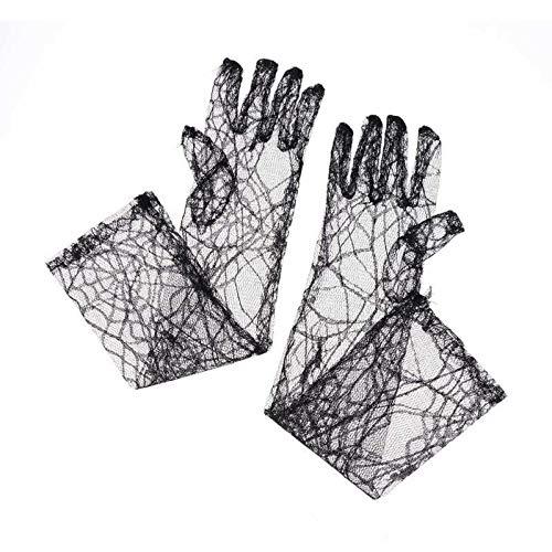 Spinnennetz Handschuhe Kostüm - KODORIA Halloween Spiderweb Lange Halloween Handschuhe Spinnennetz-Handschuhe Halloween Kostüm Cosplay Party Handschuhe