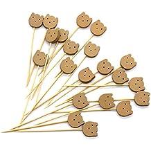 PuTwo hecho a mano palillos de cóctel 100palillos marrones oso para cóctel, suplementos para fiestas–diseño de oso de peluche, materiales sintéticos, Bear, 12 cm