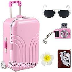 Miunana 5 Muñecas Fashion Accesorios con viaje : 1 Maleta + 1 Horquilla + 1 jugar de cartas + 1 Cámara + 1 Gafas de sol para 18 pulgadas Meñeca 46 cm American Girl Doll