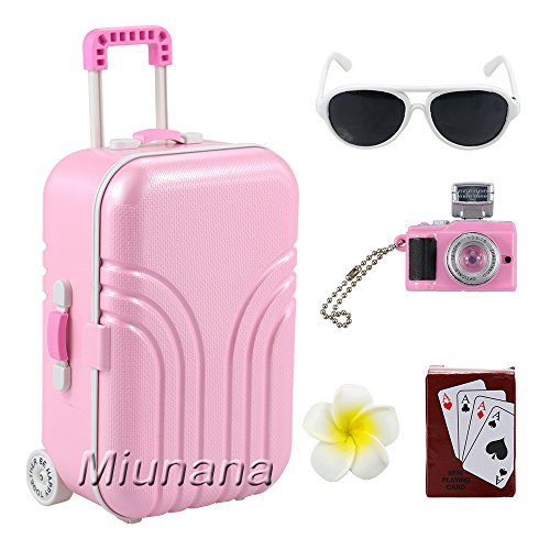 Miunana 5 PCS Accessories For Holiday For American Girl Dolls - Luggage + Hairpin + Playing Cards + Camera + Sunglasses