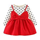 MEIbax Baby Mädchen Langarm Dot Bowknot Prinzessin Kleid Kleidung Outfits Anzug Mini Kleid Prinzessin Kleider