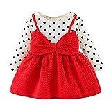 Kobay Neugeborenes Säuglingsbaby-Mädchen-Lange Hülse Punkt Bowknot Prinzessin Dress Clothes Outfits(12-18M,Rot)