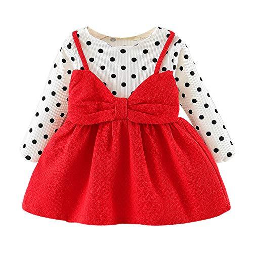 Yanhoo Kinderkleidung, Kindermode Baby Mädchen Prinzessin Kleid Langarm Polka Dot Kleid mit Bowknot (6M-24M)