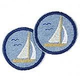 Bügelflicken rund Segelboot Flicken zum aufbügeln Jeans hellblau Set 2 Aufbügler maritime Bügelbilder Segelschiffe für Erwachsene gestickte Applikationen