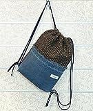 Rucksack Beutel Matchsack Turnbeutel von Beletage Materialmix Wollstoff mit Jeans HM