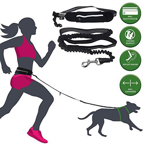 barf-alarm Joggingleine Hunde mit Bauchgurt inkl Tasche - 180cm Reflektierende Freihandleine - Taille Hundeleine Freihändig Für das Laufen und Joggen