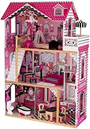 KidKraft 65093 Amelia Wooden Dolls House with Furniture and Accessories Included, 3 Storey Play Set for 30 cm/