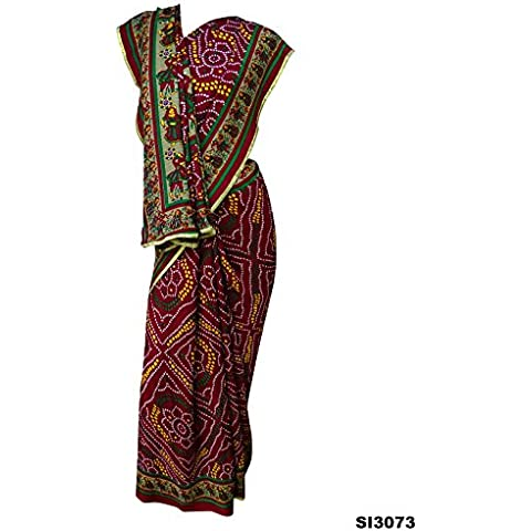 Bandhani de las mujeres impresas del abrigo de musgo Crepe Sari Nueva granate indio Dandiya Diseño 5 Yard sari con la blusa de la pieza