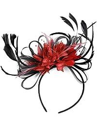 Negro y Rojo neta aro plumas Tocado para cabello diadema boda Royal Ascot de carreras