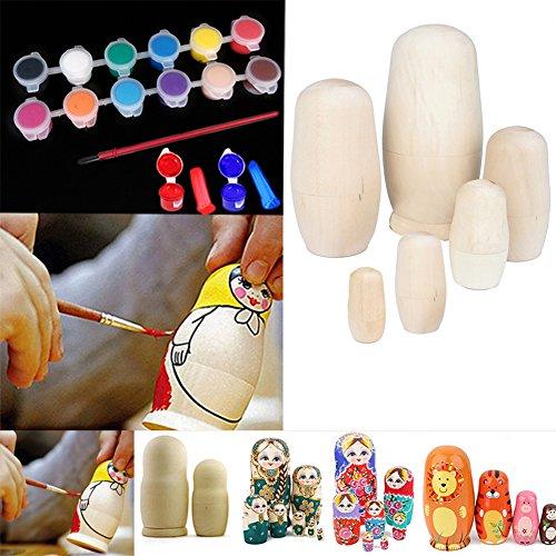Wildlead 6 teile / satz Unlackiert DIY Blank Holz Embryonen Russische Verschachtelung Matryoshka Puppen Spielzeug + 12 Farben Gouache Kits Verschachtelungs-puppen 12