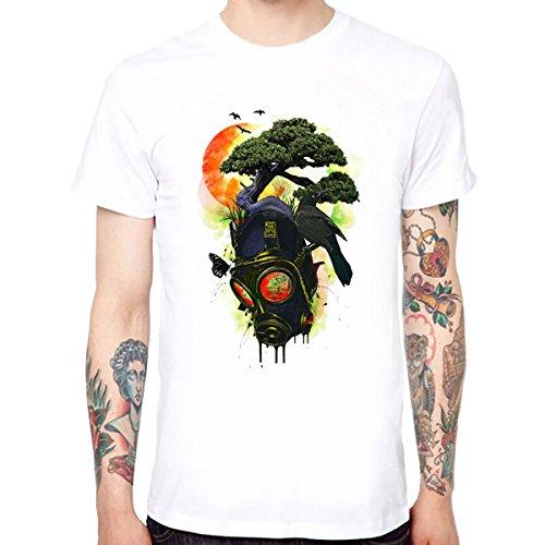 Yingyan Gasmaske Baum Männer Baumwolle Weiche Lustige Coole T-Shirts Kurzarm Tops T Größe XL (Weichen Baum T-shirt)