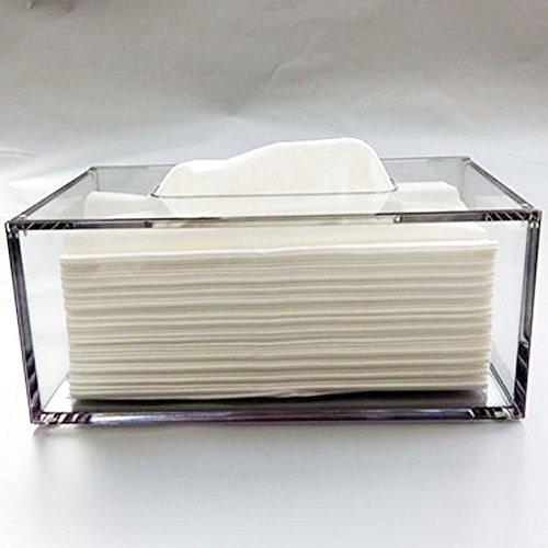 yakri Facial Tejido caja de pañuelos, soporte, dispensador de pañuelos de acrílico con funda magnética TB002
