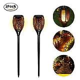 EleLight 2 Pack Solar Taschenlampe, 96 LEDs Wasserdichte Flickering Flames Landschaft Rasen Lampen mit Dancing Flames für Outdoor Garten Patio Hof Pathway Pool Decor