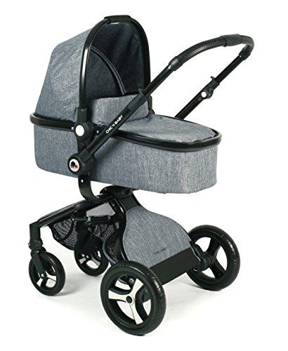 CHIC 4 BABY 165 34 Kombi-Kinderwagen Platino, inklusive Sportwagenaufsatz, Babywanne und Maxi-Cosi Adapter, Jeans, grau