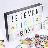 Jeteven Boîte Lumineuse avec 210 Lettres Coloris Cinéma Boîte Lumineuse A4 Enseigne Lumineuse LED avec 210 Lettres et Symboles Décoration Chambre Mariage Fête La Saint-Valentin
