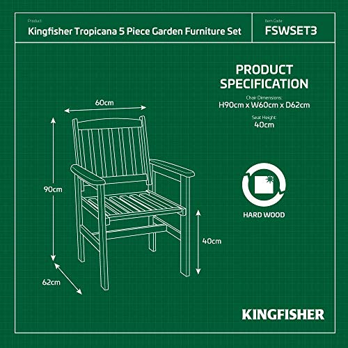 Kingfisher FSWSET3 Tropicana Bench Set (5 Pieces)