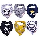 Baby Dreieckstuch Lätzchen 6er 100% Baumwolle Saugfähig Weich Halstücher Spucktuch Lätzchen mit Druckknopf für Baby Jungen und Mädchen Kleinkinder (Jungen)