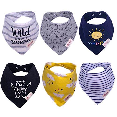 Baberos Bandana para Bebé Unisexo, 6 Paquetes de Baberos de Algodón tipo Bandana, Superabsorbentes, para Bebé Niños y Niñas (Niños)