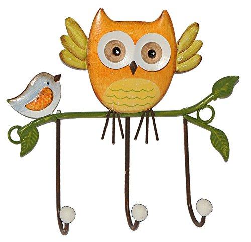 1 Stück: Garderobenhaken Eulen aus Metall - Wandhaken Kindergarderobe mit 3 Kleiderhaken Kind Wandgarderobe - für Innen und Außen - bunte Eule Vögel Tiere