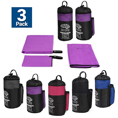MENTALIZE® Fitness Microfaser Handtücher | 3er Mikrofaser Handtuchset | Badehandtuch | XXL Strandtuch | Reißverschluss-Tasche (Orchidee Lila - Black, 100x50cm)