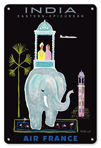 22cm x 30cm Vintage Metallschild - Indien - Air France - Fernöstliche Philosophien - Indischer Elefant mit Howdah (Sänfte) - Vintage Retro Fluggesellschaft Reise Plakat von Bernard Villemot c.1956