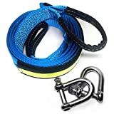 LIVEHITOP Abschleppseil 5 cm x 5 m, 17,600 lbs (8 Tonnen) Recovery Tow Strap Kit Für Off-Road Recovery & Abschleppen Heavy Duty Polyester Weather Resistant Verstärkte Looped Ends 2 Safety Hooks