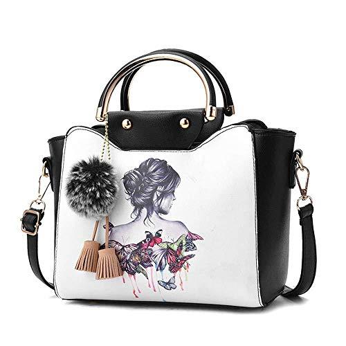 Drucken Messenger Bag Damen Ledertasche Chic Quaste Anhänger Handtasche Einfache Ethnische Handtasche,Wei-1 -