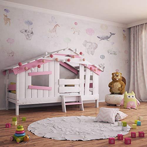 BIBEX APART Chalet Kinderbett, Spielbett, Jugendbett, Spielhaus, Massive Kiefer, zart-rosa (mit Türchen)