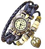 Kim Johanson Damen Armbanduhr aus Leder Schwarz - Retro Herz Uhr Neu & OVP inkl. Geschenkverpackung