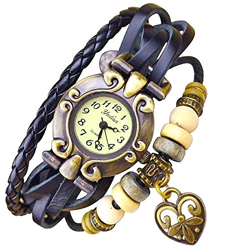 Kim Johanson Damen Armbanduhr aus Leder in Schwarz inkl. Schmuckbeutel