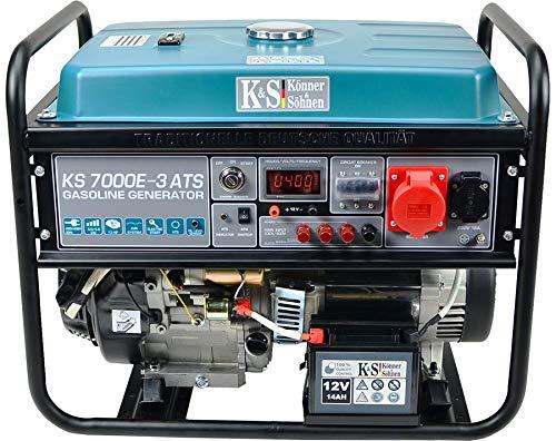 Könner & Söhnen KS 7000E-3 ATS Stromerzeuger, 13 PS 4-Takt Benzinmotor, E-Start, Notstromautomatik, 1x16A (400V/230V) Generator, Automatischer Spannungsregler, Anzeige, für Haus, Garage, Werkstatt