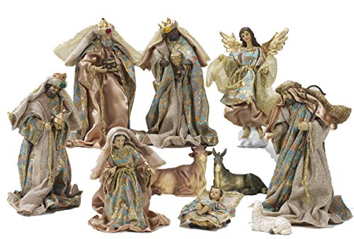 Idea natale: presepe natività in resina composto da 10 statue soggetti in resina e vestito in stoffa (31 centimetri)