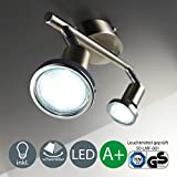 Foco LED de techo / Lámpara de techo / Foco / GU10 / 3 vatios / 250 lúmenes / orientable / incluye anillo cromado / níquel mate, níquel mate, GU10 6.00 wattsW [Clase de eficiencia energética A+]