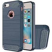 Funda iPhone SE, HICASER Durabilidad Flexible TPU Case, Carbon Fiber Antideslizante Gota Protección Rugged Armor Defensivo Carcasa para iPhone SE / 5s / 5 Azul marino