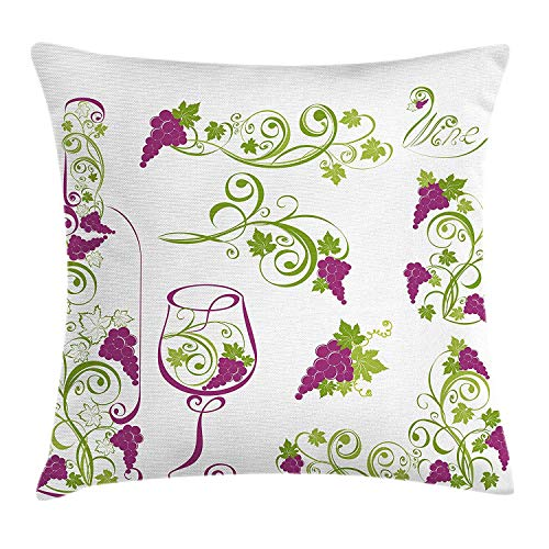 Wine Throw Pillow Cushion Cover, Wine Bottle and Glass Grapevines Lettering with Swirled Branches Lines, Decorative Square Accent Pillow Case, 18 X 18 inches, Purple Lime Green White Tan Grapevine