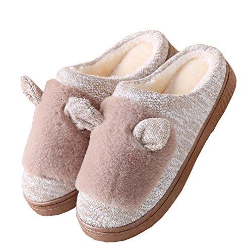 Gewirk Katzenohren Baumwolle Pantoffeln-Unisex Winter warm Pl¨¹sch Bootie Schuhe Kamel