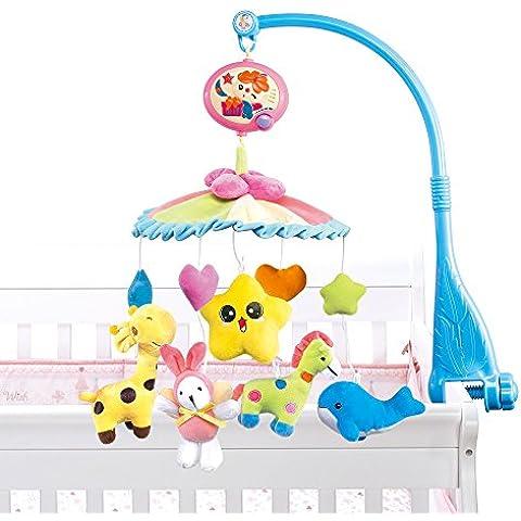 NextX B201 del bebé y de la muchacha ropa de cama cuna musical móvil con el colgante giratorio de colores suaves muñecos de peluche, Animal Amigos, caja de música eléctrica de 20 melodías juguete educativo