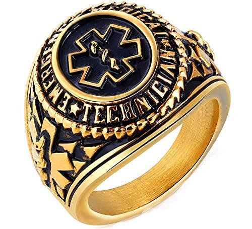 Medical Hip Hop Punk Gold oder Silber Smeared Ringe für Herren in Edelstahl Zeichen ()