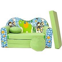Welox Kindersofa Bettfunktion 3in1 - Kindersessel, Ausziehbett, grün Elefant