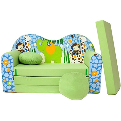 Kindersofa Bettfunktion 3in1 - Kindersessel, Ausziehbett, Z16,  Grün Afrika