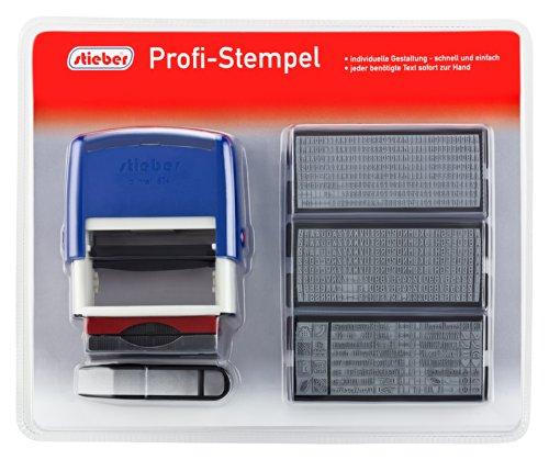Stieber Profi Stempel 5 Zeilen SUPER MAXI SET 2015: 6 Typensätze, 2 Kissen, Stempelunterlage (Bügelfarbe unten wählbar) (Bügelfarbe blau)