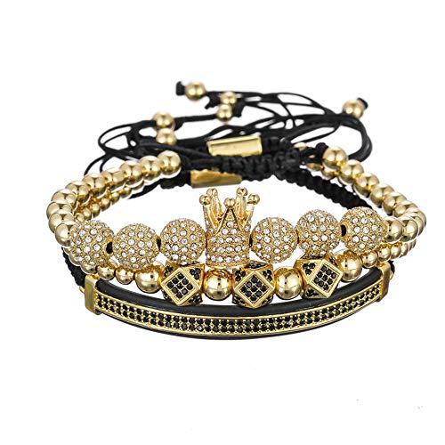 WANZIJING 3 Stücke Charme Armbänder Set, Luxus CZ Polygon Ball Crown Charm Kupfer Perle Macrame Handgemachte Männer Armbänder Set,Gold