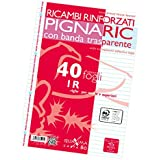 Pigna 02194591R, Ricambio con Banda Rinforzata, Rigatura 1R, righe per medie e superiori, Carta 80g/mq, formato A4 (21 x 29.7