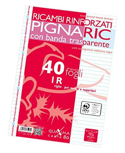 Pigna 02194591R, Ricambio con Banda Rinforzata, Rigatura 1R, righe per medie e superiori, Carta 80g/mq, Pacco da 40 Fogli