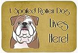 "Caroline's Treasures BB1467JCMT English Bulldog Spoiled Dog Lives Here Kitchen or Bath Mat, 24 by 36"", Multicolor"