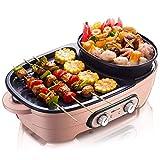 Hot Pot multi-funzione antiaderente elettrico Hot Pot Barbecue Cucinare un pezzo Pot romantico rosa, 1500W