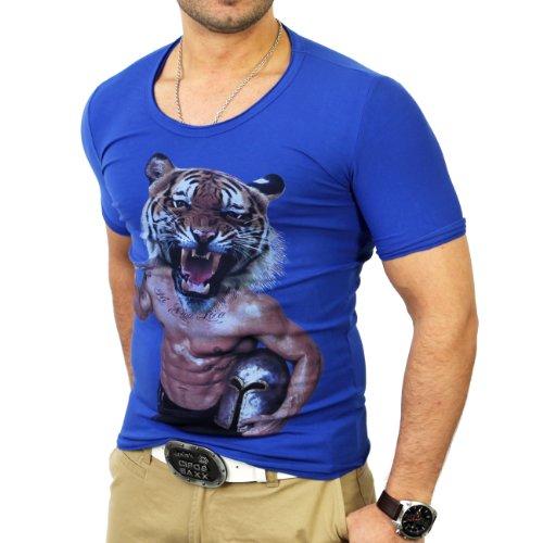 Reslad Herren Tigerhead T-Shirt RS-2663 Blau
