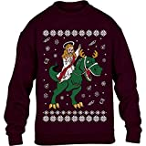 Hässlicher Weihnachtspullover - Jesus Reitet Auf Dino Kinder Pullover Sweatshirt 140cm Kastanienbraun