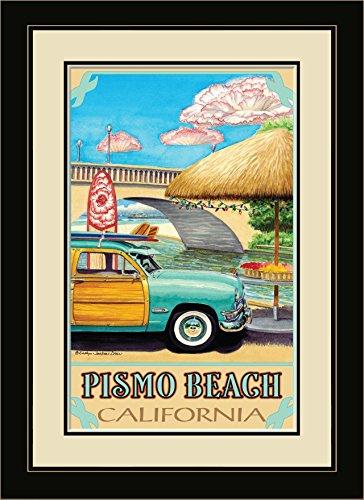 Northwest Art Mall ed-6409fgdm twdy Pismo Beach California türkis Woody gerahmtes Wandbild Kunst von Künstlerin Evelyn Jenkins Drew, 40,6x 55,9cm